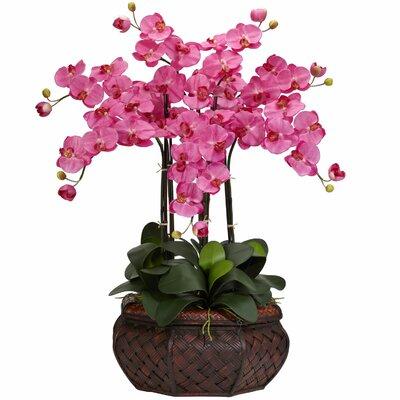 Nearly Natural Large Phalaenopsis Silk Flower Arrangement in Dark Pink