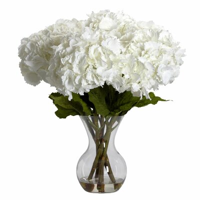Nearly Natural Large Silk Hydrangeas in Vase