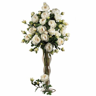 """Nearly Natural 38.5"""" Peony with Leaves Floral Arrangements in White"""
