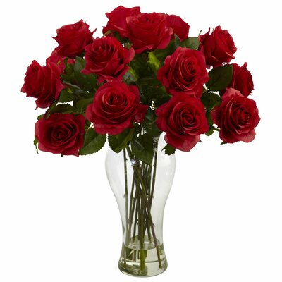 Blooming Roses with Vase by Nearly Natural