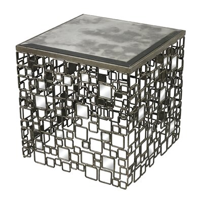 Alvis Metal and Antique Mirror Side Table by Sterling Industries