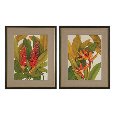 Tropical Bird of Paradise and Tropical Red Ginger Wall Art by Sterling Industries