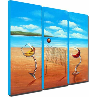 White Walls Over the Net 3 Piece Original Painting on Canvas Set
