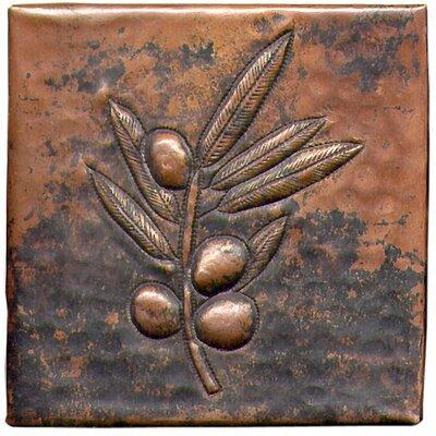 """D'Vontz Berry Branch 4"""" x 4"""" Copper Tile in Dark Copper"""