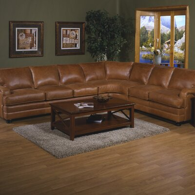 Pantera Leather Right Facing Sectional by Omnia Furniture