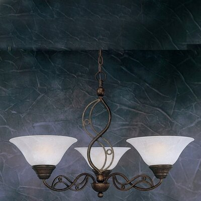 Jazz 3 Up Light Chandelier with Marble Glass Shade by Toltec Lighting