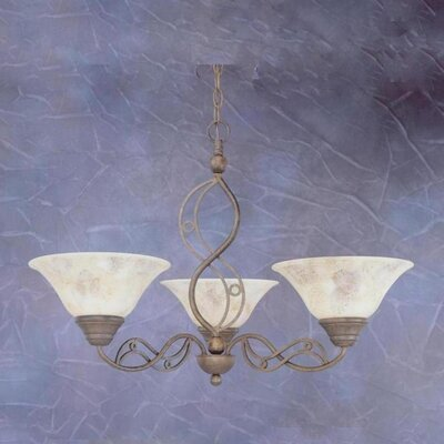 Jazz 3 Up Light Chandelier with Italian Marble Glass Shade by Toltec Lighting