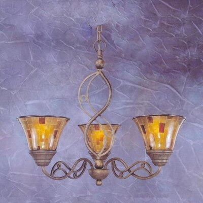 Jazz 3 Up Light Chandelier with Pen Shell Shade by Toltec Lighting