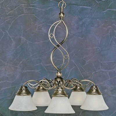 Jazz 5 Light Chandelier with Marble Glass Shade by Toltec Lighting