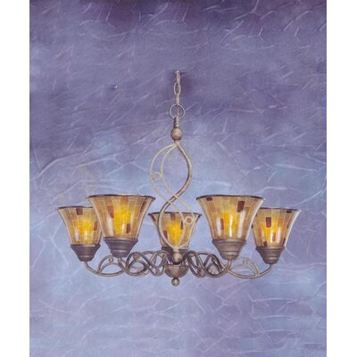 Jazz 5 Light Up Chandelier with Pen Shell Shade by Toltec Lighting