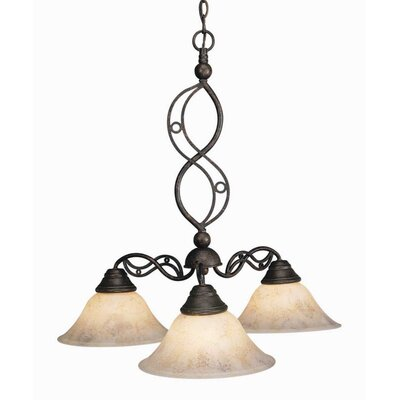 Jazz 3 Light Chandelier with Italian Marble Glass Shade by Toltec Lighting