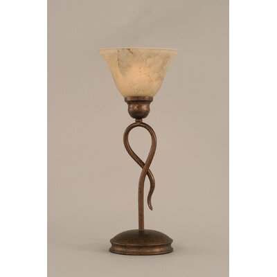 """Toltec Lighting Leaf 13.25"""" H Mini Table Lamp with Bell Shade"""