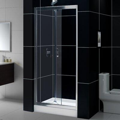 "Butterfly 74.75"" x 60"" Pivot Frameless Bi-Fold Shower Door with SlimLine 36"" and 60"" Single Threshold Shower Base Cen... Product Photo"