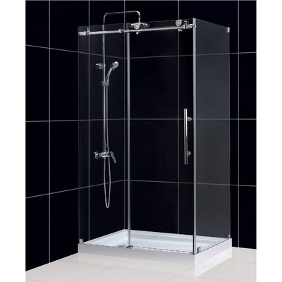 "Enigma-X 34 1/2"" by 48 3/8"" Fully Frameless Sliding Shower Enclosure, Clear 3/8"" Glass Shower Product Photo"