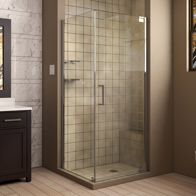 "Elegance 30"" by 30"" Frameless Pivot Shower Enclosure, Clear 3/8"" Glass Shower Product Photo"