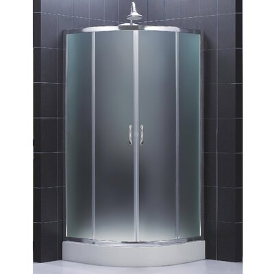"Prime 36 3/8"" by 36 3/8"" Frameless Sliding Shower Enclosure, Base and QWALL-4 Shower Backwall Kit Product Photo"