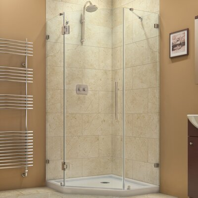 "PrismLux 34 5/16"" by 34 5/16"" Frameless Hinged Shower Enclosure, 3/8"" Glass Shower Product Photo"