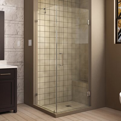"""UnidoorLux 30"""" by 30"""" Frameless Hinged Shower Enclosure, 3/8"""" Glass Shower Product Photo"""