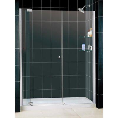 "Allure 75.75"" x 60"" Pivot Frameless Shower Door with SlimLine 30"" and 60"" Single Threshold Shower Base Center Drain Product Photo"