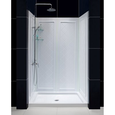 "Infinity-Z Frameless Sliding Shower Door, 36"" by 48"" Single Threshold Shower Base and QWALL-5 Shower Backwall Kit Product Photo"