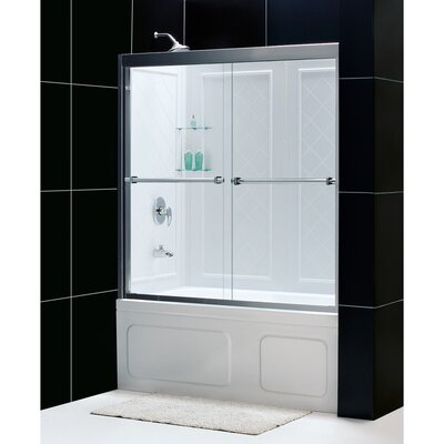 "Duet 56 to 59"" Frameless Bypass Sliding Tub Door and QWALL-Tub Backwall Kit Product Photo"