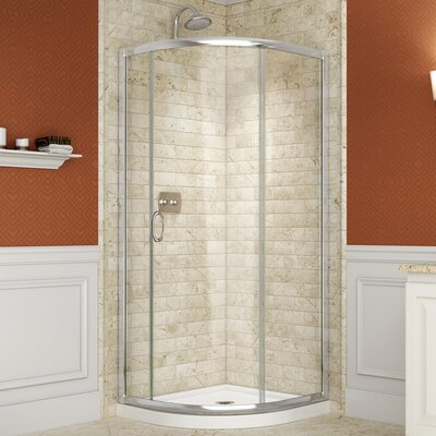 "Solo 36 3/8"" by 36 3/8"" Frameless Sliding Shower Enclosure, 1/4"" Glass Shower Product Photo"