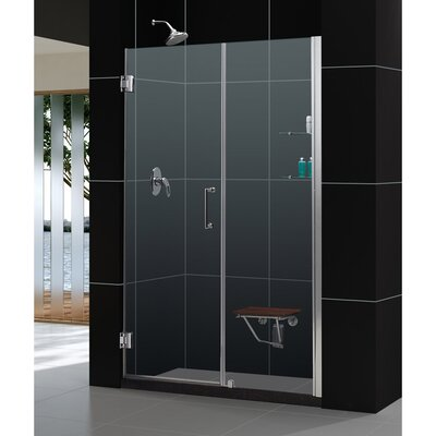 """UniDoor 72"""" x 57"""" Pivot Frameless Hinged Shower Door with 30"""" Side Panel and Shelves Product Photo"""