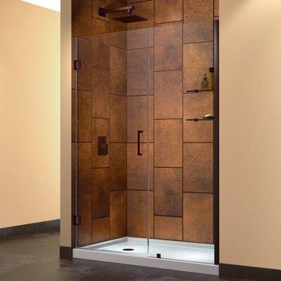 """UniDoor 72"""" x 48"""" Pivot Frameless Hinged Shower Door Product Photo"""