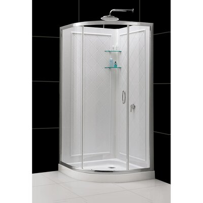 """Solo 34 3/8"""" by 34 3/8"""" Frameless Sliding Shower Enclosure, Base and QWALL-4 Shower Backwall Kit Product Photo"""