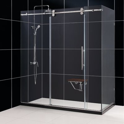 "Enigma 36"" by 72 1/2"" Fully Frameless Sliding Shower Enclosure, Clear 1/2"" Glass Shower Product Photo"