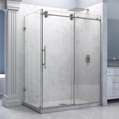 "Enigma 36"" by 60 1/2"" Fully Frameless Sliding Shower Enclosure, Clear 1/2"" Glass Shower Product Photo"