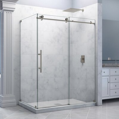 """Enigma-X 34 1/2"""" by 60 3/8"""" Fully Frameless Sliding Shower Enclosure, Clear 3/8"""" Glass Shower Product Photo"""