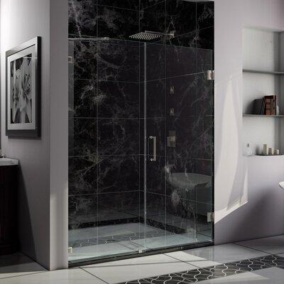 """UniDoor Lux 72"""" x 56"""" Pivot Frameless Hinged Shower Door Product Photo"""