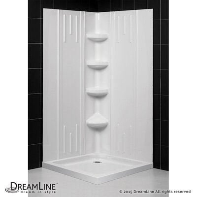 "SlimLine 36"" by 36"" Double Threshold Shower Base and QWALL-2 Shower Backwall Kit Product Photo"