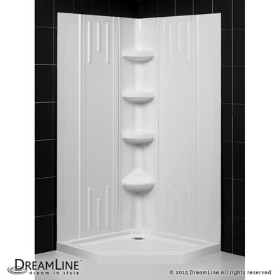 "SlimLine 36"" by 36"" Neo Shower Base and QWALL-2 Shower Backwall Kit Product Photo"