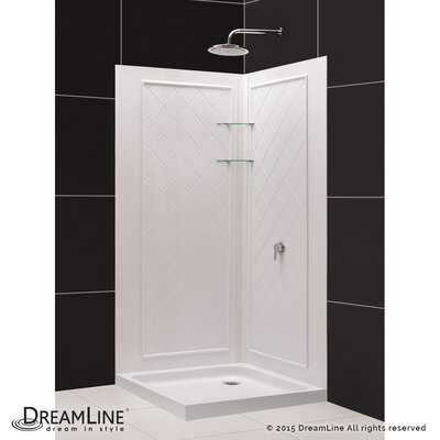 """SlimLine 32"""" by 32"""" Double Threshold Shower Base and QWALL-4 Shower Backwall Kit Product Photo"""