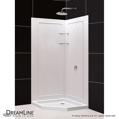 "SlimLine 36"" by 36"" Neo Shower Base and QWALL-4 Shower Backwall Kit Product Photo"