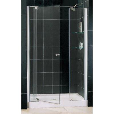 "Allure 75.75"" x 49"" Pivot Frameless Shower Door with SlimLine 36"" and 48"" Single Threshold Shower Base Product Photo"
