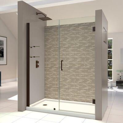 """UniDoor 72"""" x 54"""" Pivot Frameless Hinged Shower Door Product Photo"""