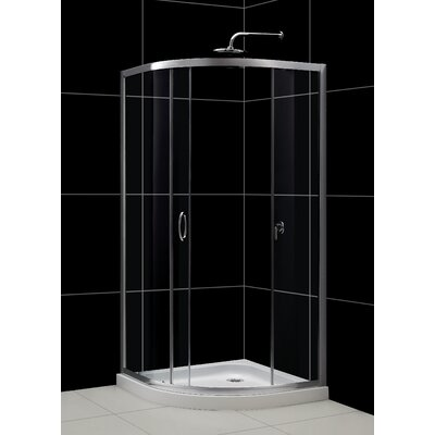 """Solo 34 3/8"""" by 34 3/8"""" Frameless Sliding Shower Enclosure, 1/4"""" Glass Shower Product Photo"""