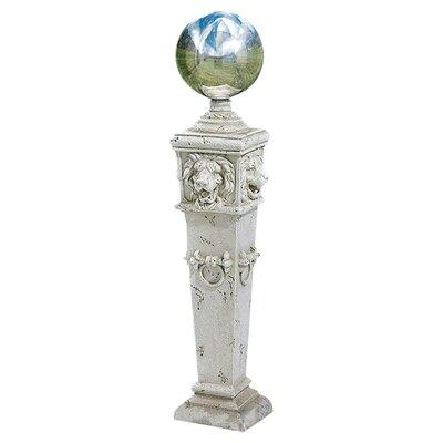 Design Toscano Lion Head Gazing Globe Pillar Garden Statue