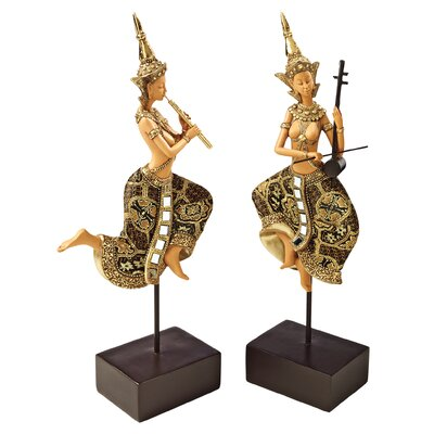2 Piece Piphat Thai Classical Musician Statues Set by Design Toscano