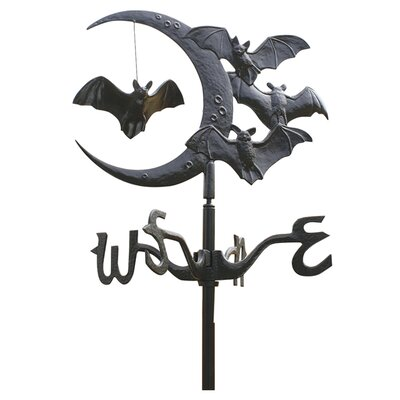 Design Toscano Moon and Bats Crescent Moon Vampire Bats Garden Weathervane