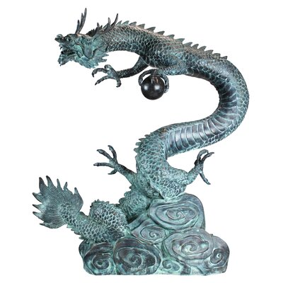 Asian Dragon with Oriental Power Orb Garden Statue by Design Toscano