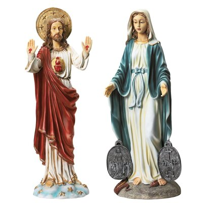 2 Piece Italian Style Devotional Art Jesus and Mary Statues by Design Toscano