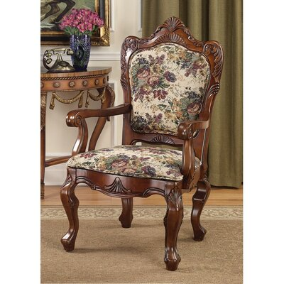 Design Toscano Emily Dickinson Floral Jacquard Fabric Arm Chair
