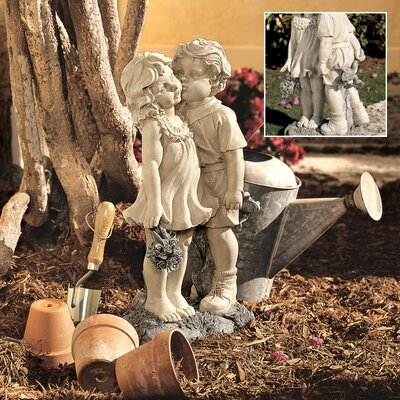 Young Sweethearts Kissing Children Garden Statue by Design Toscano