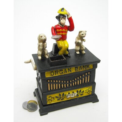 Design Toscano Authentic Organ Grinder's Performing Monkey Foundry Mechanical Piggy Bank