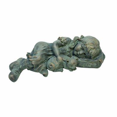 Design Toscano Sarah Slumbers: Little Girl and Kitten Garden Statue