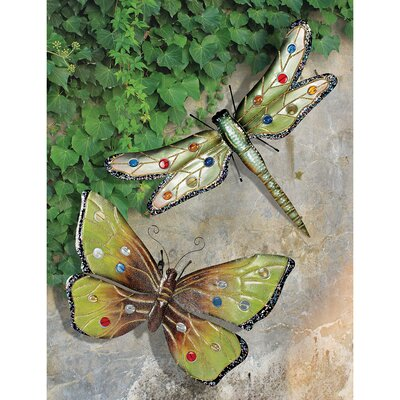 Dragonfly and Butterfly 2 Piece Wall Plaque Set by Design Toscano